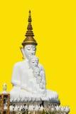 Het grote standbeeld van Boedha op gele achtergrond Stock Fotografie