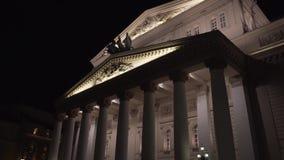 Het Grote ` Theater van Bolshoi ` van Ballet en Opera bij nacht, Moskou stock videobeelden