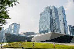 Het grote theater van Guangzhou van het Guangzhouoriëntatiepunt Het blauwe gebied van het glasgordijn, een unieke verschijning va Stock Afbeelding