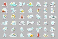 Het grote vastgestelde karakter van stickerrobots Zoeken, ufo en anderen inzamelingsillustratie vector illustratie