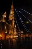 Het Grote Vierkant van Brussel in nacht Stock Foto