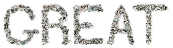 Groot - Geplooide Rekeningen 100$ Royalty-vrije Stock Foto's