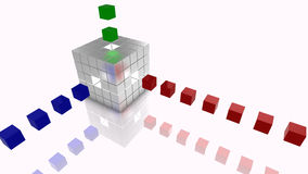 Het grote zilver van de het conceptenillustratie van gegevenskubussen, blauw, rood en groen Stock Fotografie