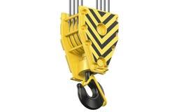 Het grote zwarte en gele de haakblok van de bouw towe kraan hangen op staalkabels 3d geef van lucht geïsoleerde hookblock terug stock illustratie
