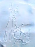 Het guitige trekken op de sneeuw royalty-vrije stock afbeelding