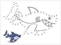 Het haaibeeldverhaal verbindt de punten en de kleur Stock Foto