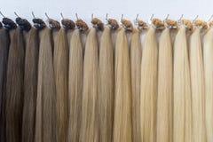 Het haar kleurt palet De achtergrond van de haartextuur, geplaatste Haarkleuren stock afbeelding