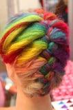 Het haar kleurt palet - geverft haar Stock Foto's