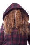 Het haar van de dame over gezicht Stock Fotografie