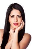 Het haar van de schoonheid en rode lippenstift Royalty-vrije Stock Afbeelding