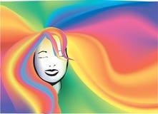 Het haarachtergrond van de regenboog royalty-vrije illustratie