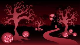 Het haarlok en het kasteel van Halloween royalty-vrije illustratie
