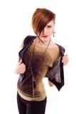 Het haarvrouw van de stijl het rode stellen in studio Stock Afbeeldingen