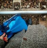Het halen van de trein Stock Foto's