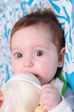 Het halfjaarlijkse meisje drinkt melk van een fles Stock Afbeeldingen