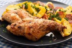 Het hamkonijn met aardappels in de oven worden gekookt ligt op een plaat die stock afbeelding