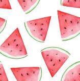Het hand geschilderde Naadloze Patroon van de Waterverfwatermeloen Voedsel fruit vector illustratie