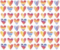 Het hand geschilderde naadloze patroon van waterverfharten Verse en kleurrijke achtergrond Royalty-vrije Stock Foto's