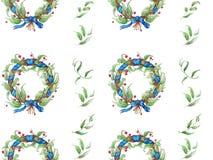 Het hand geschilderde patroon van de waterverfkroon royalty-vrije stock foto