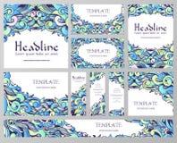 Het hand getrokken abstracte concept van de achtergrondornamentillustratie Vector decoratieve retro banner van kaart of uitnodigi Stock Fotografie