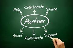 Het hand getrokken concept van het Partnerdiagram, bedrijfsstrategie op blackbo Royalty-vrije Stock Afbeeldingen