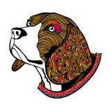 Het hand getrokken gezicht van de kleurenhond, het hoofd van de Brak met kraag Stock Afbeeldingen