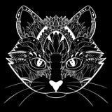Het hand getrokken gezicht van de overladen krabbel grafische zwart-witte kat Vectorillustratie voor t-shirtsontwerp, tatoegering Royalty-vrije Stock Afbeeldingen