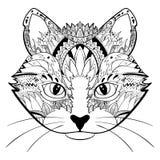 Het hand getrokken gezicht van de overladen krabbel grafische zwart-witte kat Vectorillustratie voor t-shirtsontwerp, tatoegering Stock Afbeelding