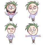 Het hand Getrokken Karakter van het Beeldverhaal met Gemengde Emoties vector illustratie