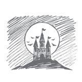 Het hand getrokken kasteel van Halloween Dracula op heuvel Stock Foto