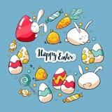 Het hand getrokken malplaatje van de krabbelkaart met leuke Pasen-elementen Vector illustratie Het gelukkige Pasen-van letters vo royalty-vrije illustratie