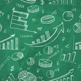 Het hand getrokken naadloze patroon van bedrijfsinfographicsfinanciën op groene achtergrond stock illustratie