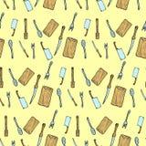 Het hand getrokken naadloze patroon van de bestekkrabbel Stock Afbeelding