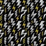 Het hand getrokken naadloze patroon van de Bliksembout Zwarte witte geel De textuur van het manierontwerp voor textiel Vector ill vector illustratie