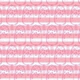 Het hand getrokken naadloze patroon van het krabbelroomijs stock illustratie