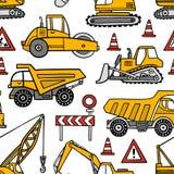 Het hand getrokken naadloze vectorpatroon van bouwauto's op witte achtergrond stock illustratie