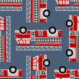 Het hand getrokken naadloze vectorpatroon van brandvrachtwagens op blauwe achtergrond stock illustratie