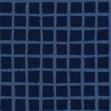 Het hand Getrokken Naadloze Vectorpatroon van het Controlepatroon Indigo Blauwe Grunge royalty-vrije illustratie