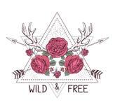 Het hand getrokken ontwerp van de bohostijl met roze bloem, pijl en hertengeweitakken vector illustratie