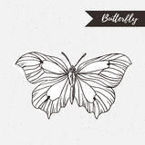 Het hand getrokken ontwerp van het vlinderembleem Vectorelement op de grungeachtergrond Royalty-vrije Stock Fotografie