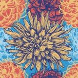 Het hand getrokken retro naadloze patroon van dahliabloemen Stock Fotografie
