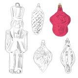 Het hand getrokken stuk speelgoed van de Kerstmisboom: aap, blad, militair, kegel Stock Foto's