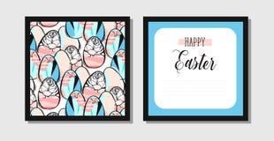 Het hand getrokken vector abstracte creatieve Pasen-ontwerp van de groetprentbriefkaar Stock Foto