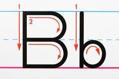 Het handschrift van de brief B stock afbeelding