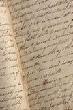 Het handschrift van de kopergravure in antiek notitieboekje Stock Fotografie