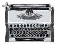 Het handschrijfmachine Uitstekende zwart-witte kunst schilderen Stock Foto's