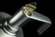 Het Handvat van de deur met Sleutel. Royalty-vrije Stock Foto's