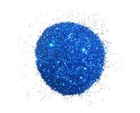 Het handvol van blauw schittert fonkeling op witte achtergrond Royalty-vrije Stock Afbeeldingen
