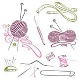 Het handwerk, het breien, wol, haakt Stock Foto's
