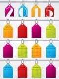 Het hangen het ontwerp van de etiketten 2015 kalender Stock Afbeelding
